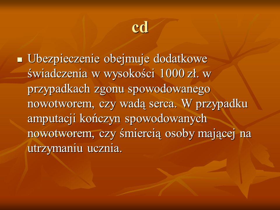 cd Ubezpieczenie obejmuje dodatkowe świadczenia w wysokości 1000 zł. w przypadkach zgonu spowodowanego nowotworem, czy wadą serca. W przypadku amputac