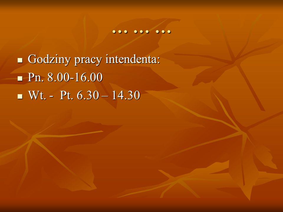 … … … Godziny pracy intendenta: Godziny pracy intendenta: Pn. 8.00-16.00 Pn. 8.00-16.00 Wt. - Pt. 6.30 – 14.30 Wt. - Pt. 6.30 – 14.30