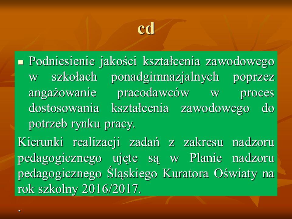 cd Podniesienie jakości kształcenia zawodowego w szkołach ponadgimnazjalnych poprzez angażowanie pracodawców w proces dostosowania kształcenia zawodowego do potrzeb rynku pracy.