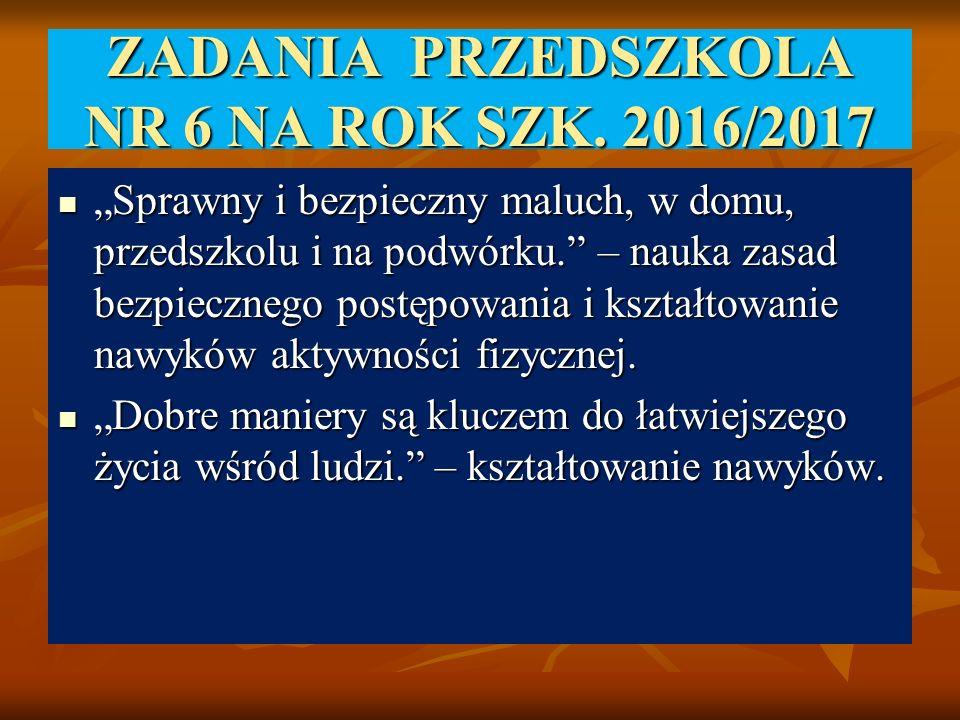"""ZADANIA PRZEDSZKOLA NR 6 NA ROK SZK. 2016/2017 """"Sprawny i bezpieczny maluch, w domu, przedszkolu i na podwórku."""" – nauka zasad bezpiecznego postępowan"""