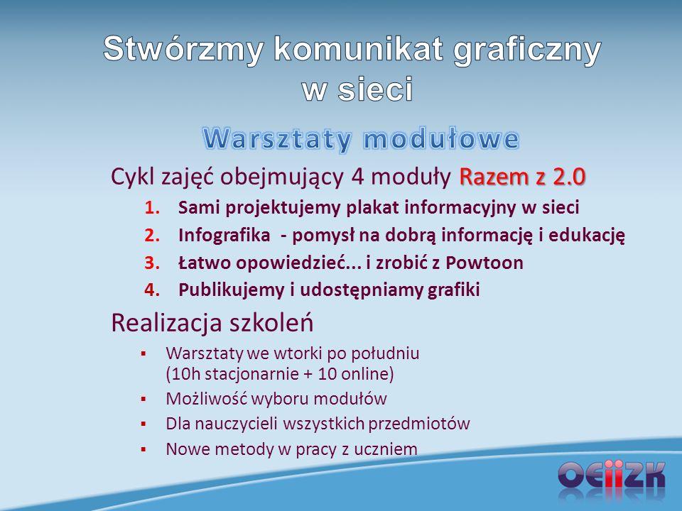 Razem z 2.0 Cykl zajęć obejmujący 4 moduły Razem z 2.0 1.Sami projektujemy plakat informacyjny w sieci 2.Infografika - pomysł na dobrą informację i ed