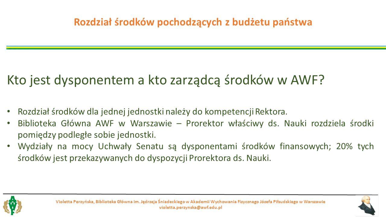Kto jest dysponentem a kto zarządcą środków w AWF? Rozdział środków dla jednej jednostki należy do kompetencji Rektora. Biblioteka Główna AWF w Warsza