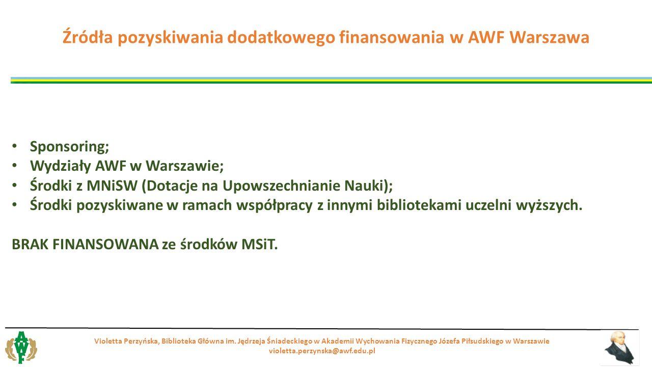 Sponsoring; Wydziały AWF w Warszawie; Środki z MNiSW (Dotacje na Upowszechnianie Nauki); Środki pozyskiwane w ramach współpracy z innymi bibliotekami uczelni wyższych.