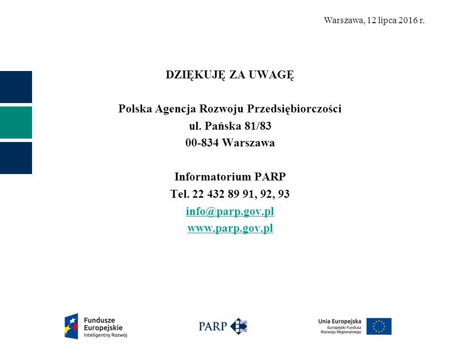 Warszawa, 12 lipca 2016 r. DZIĘKUJĘ ZA UWAGĘ Polska Agencja Rozwoju Przedsiębiorczości ul.
