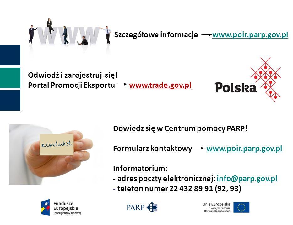 Szczegółowe informacje www.poir.parp.gov.pl Dowiedz się w Centrum pomocy PARP.