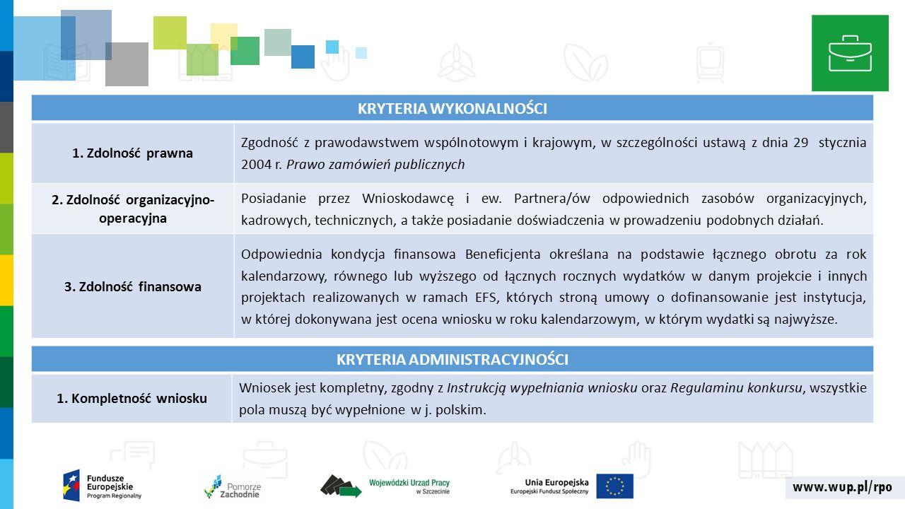 www.wup.pl/rpo KRYTERIA WYKONALNOŚCI 1.