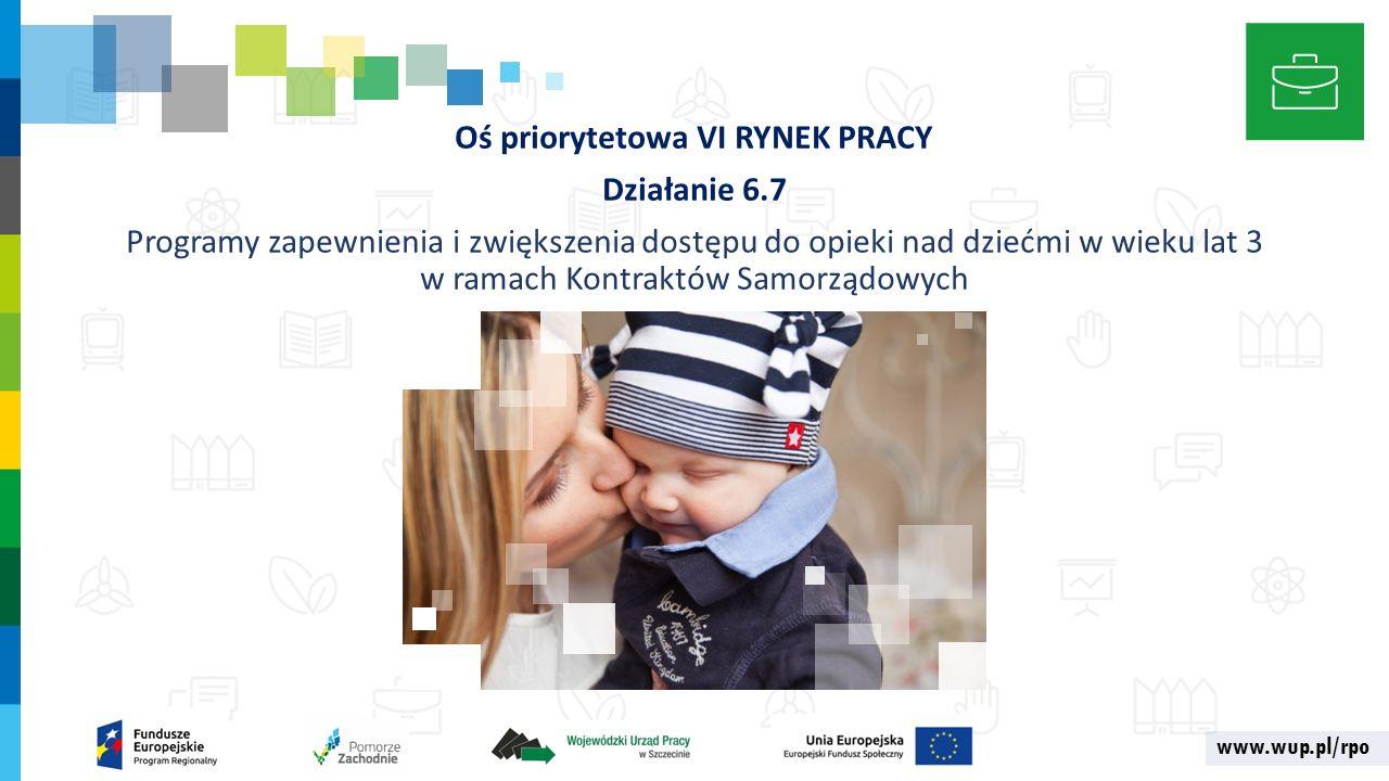www.wup.pl/rpo Oś priorytetowa VI RYNEK PRACY Działanie 6.7 Programy zapewnienia i zwiększenia dostępu do opieki nad dziećmi w wieku lat 3 w ramach Kontraktów Samorządowych