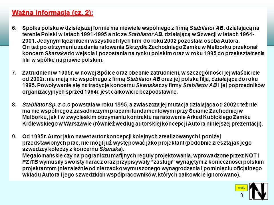 ready Ważna informacja (cz. 2): 6. Spółka polska w dzisiejszej formie ma niewiele wspólnego z firmą Stabilator AB, działającą na terenie Polski w lata