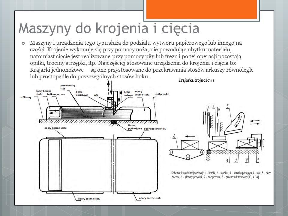 Maszyny do krojenia i cięcia  Maszyny i urządzenia tego typu służą do podziału wytworu papierowego lub innego na części.