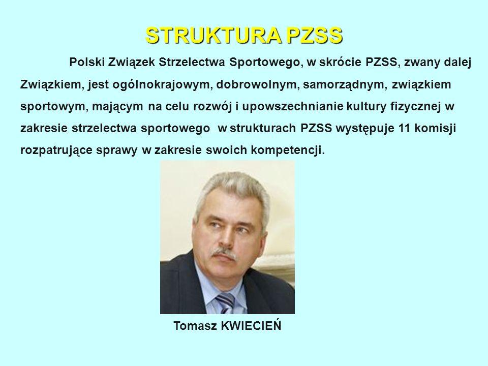 STRUKTURA PZSS Polski Związek Strzelectwa Sportowego, w skrócie PZSS, zwany dalej Związkiem, jest ogólnokrajowym, dobrowolnym, samorządnym, związkiem sportowym, mającym na celu rozwój i upowszechnianie kultury fizycznej w zakresie strzelectwa sportowego..w strukturach PZSS występuje 11 komisji rozpatrujące sprawy w zakresie swoich kompetencji.