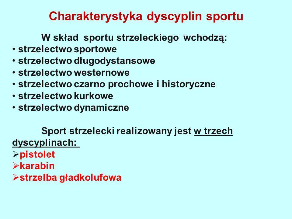 Charakterystyka dyscyplin sportu W skład sportu strzeleckiego wchodzą: strzelectwo sportowe strzelectwo długodystansowe strzelectwo westernowe strzelectwo czarno prochowe i historyczne strzelectwo kurkowe strzelectwo dynamiczne Sport strzelecki realizowany jest w trzech dyscyplinach:  pistolet  karabin  strzelba gładkolufowa