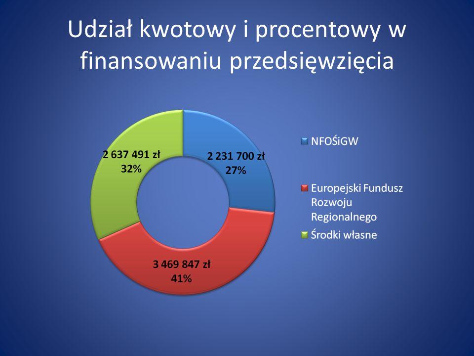 Udział kwotowy i procentowy w finansowaniu przedsięwzięcia