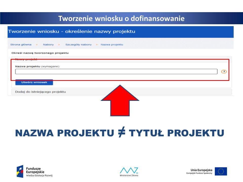 20 Tworzenie wniosku o dofinansowanie NAZWA PROJEKTU ≠ TYTUŁ PROJEKTU