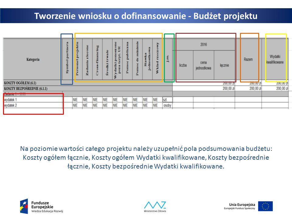 Na poziomie wartości całego projektu należy uzupełnić pola podsumowania budżetu: Koszty ogółem łącznie, Koszty ogółem Wydatki kwalifikowane, Koszty bezpośrednie łącznie, Koszty bezpośrednie Wydatki kwalifikowane.