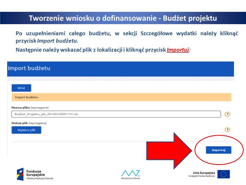 25 Po uzupełnieniami całego budżetu, w sekcji Szczegółowe wydatki należy kliknąć przycisk Import budżetu.