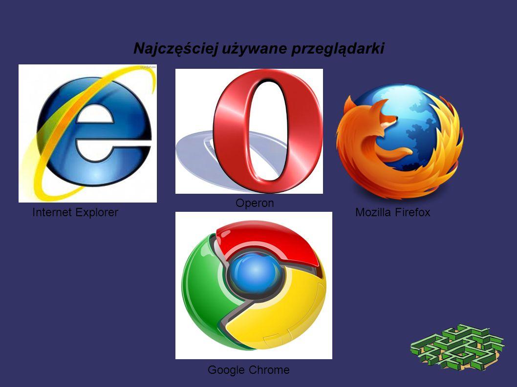Najczęściej używane przeglądarki Internet Explorer Operon Mozilla Firefox Google Chrome