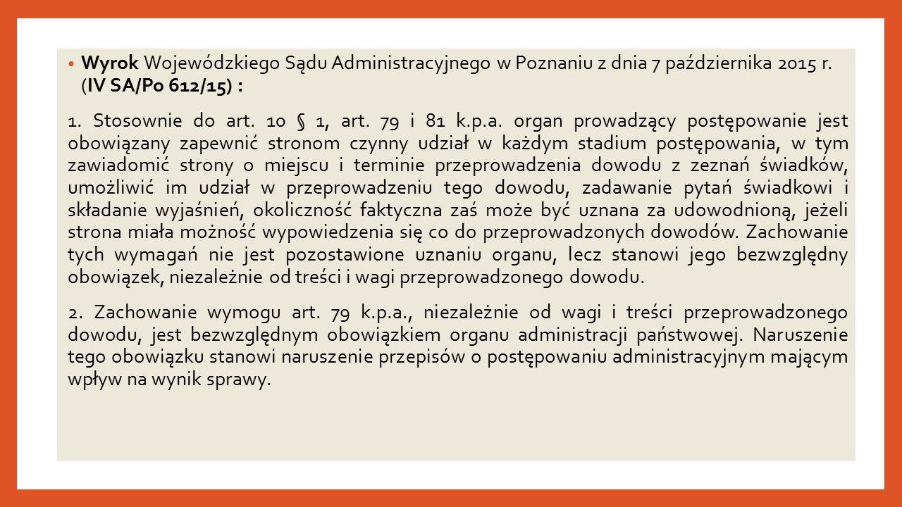 Wyrok Wojewódzkiego Sądu Administracyjnego w Poznaniu z dnia 7 października 2015 r.