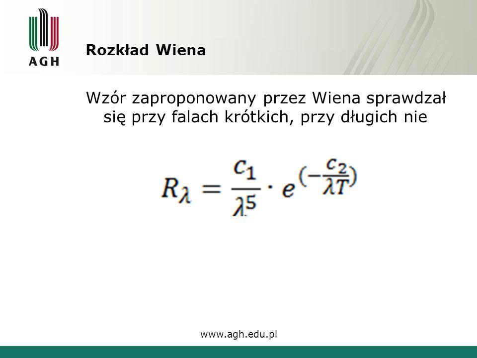 Rozkład Wiena Wzór zaproponowany przez Wiena sprawdzał się przy falach krótkich, przy długich nie www.agh.edu.pl
