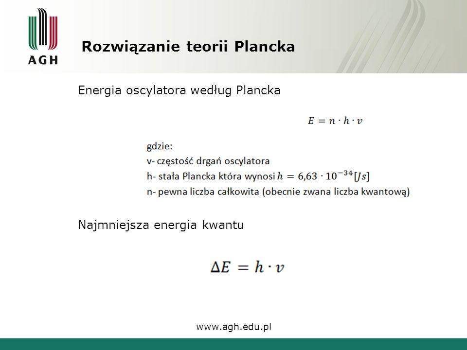 Rozwiązanie teorii Plancka www.agh.edu.pl Energia oscylatora według Plancka Najmniejsza energia kwantu