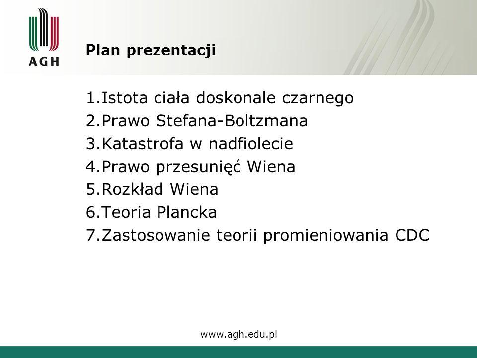 Teoria Plancka Zmodyfikowany przez Plancka wzór na rozkład Wiena www.agh.edu.pl