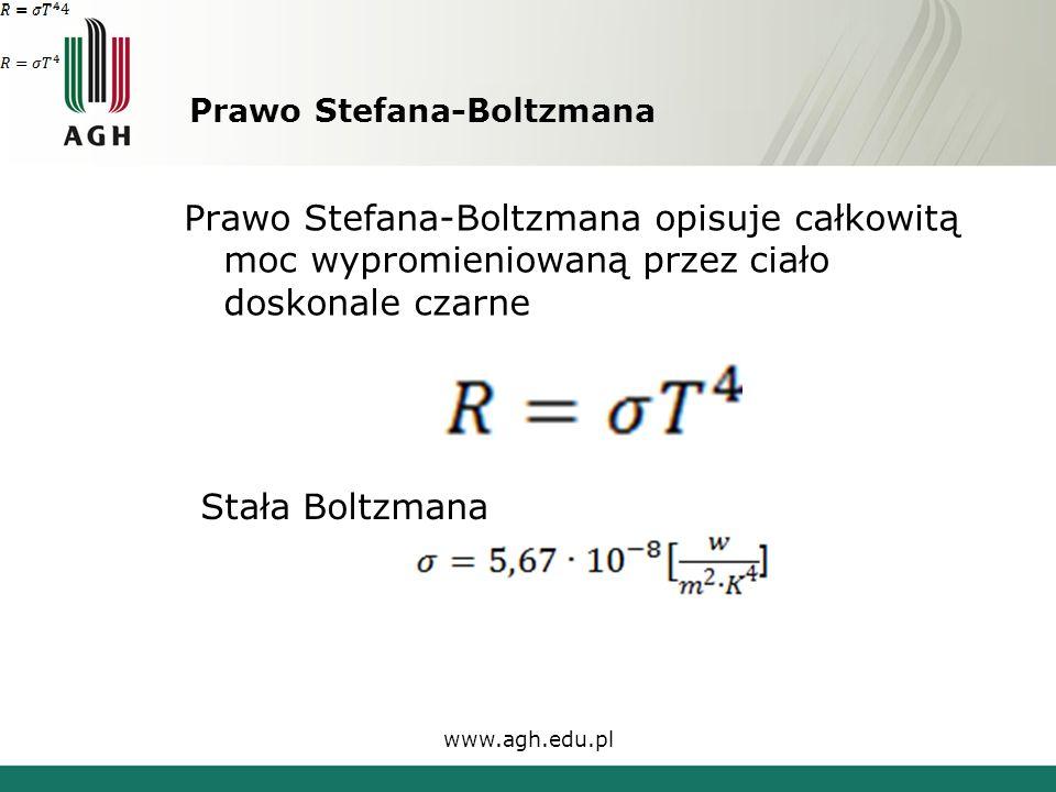 Prawo Stefana-Boltzmana Prawo Stefana-Boltzmana opisuje całkowitą moc wypromieniowaną przez ciało doskonale czarne www.agh.edu.pl Stała Boltzmana