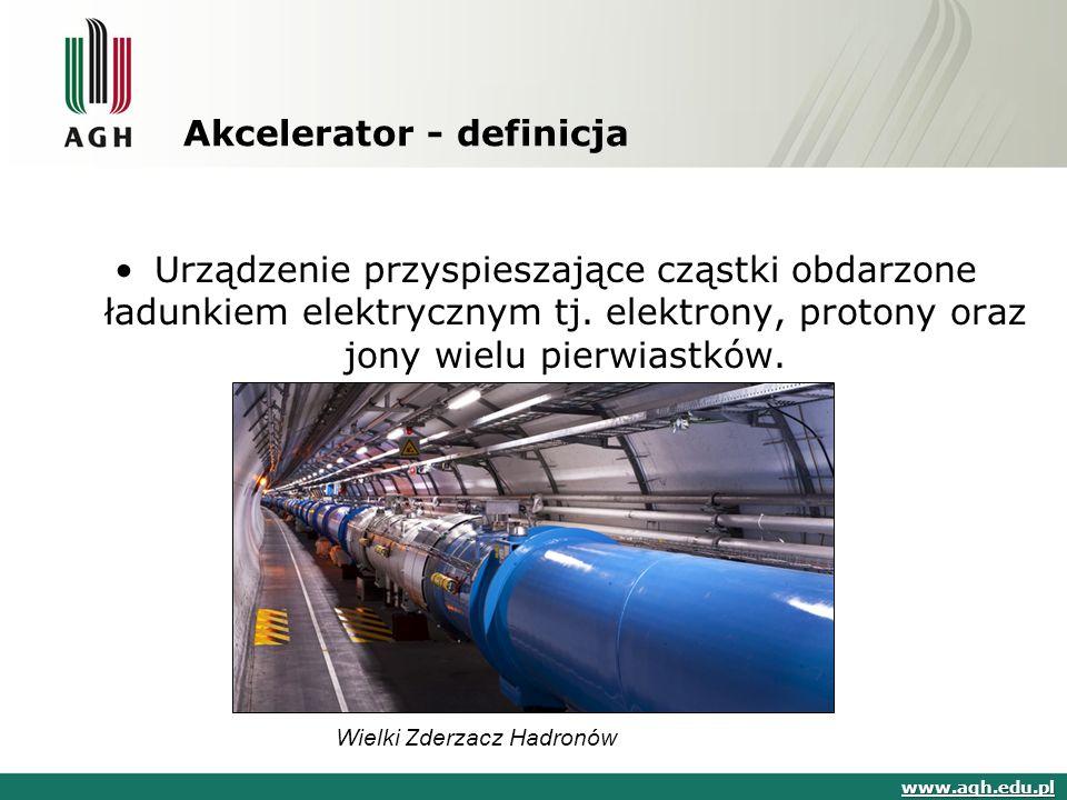 Akcelerator - definicja Urządzenie przyspieszające cząstki obdarzone ładunkiem elektrycznym tj.