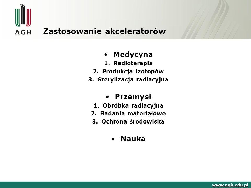 Zastosowanie akceleratorów Medycyna 1.Radioterapia 2.Produkcja izotopów 3.Sterylizacja radiacyjna Przemysł 1.Obróbka radiacyjna 2.Badania materiałowe 3.Ochrona środowiska Nauka www.agh.edu.pl