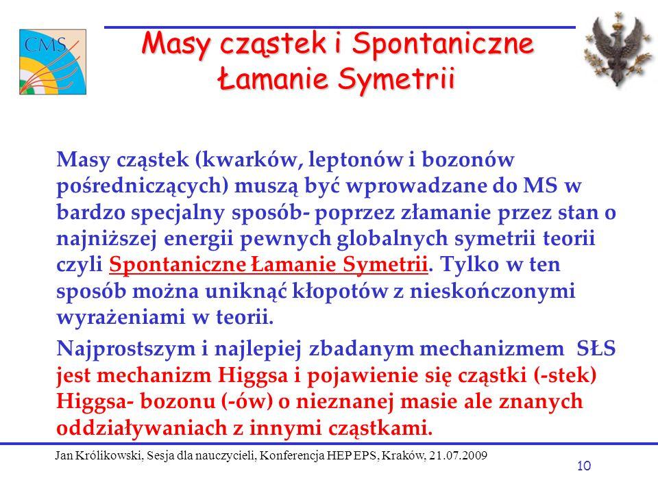 Masy cząstek i Spontaniczne Łamanie Symetrii Masy cząstek (kwarków, leptonów i bozonów pośredniczących) muszą być wprowadzane do MS w bardzo specjalny sposób- poprzez złamanie przez stan o najniższej energii pewnych globalnych symetrii teorii czyli Spontaniczne Łamanie Symetrii.