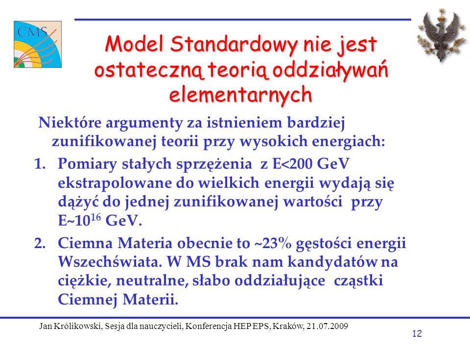 Model Standardowy nie jest ostateczną teorią oddziaływań elementarnych Niektóre argumenty za istnieniem bardziej zunifikowanej teorii przy wysokich energiach: 1.Pomiary stałych sprzężenia z E<200 GeV ekstrapolowane do wielkich energii wydają się dążyć do jednej zunifikowanej wartości przy E~10 16 GeV.