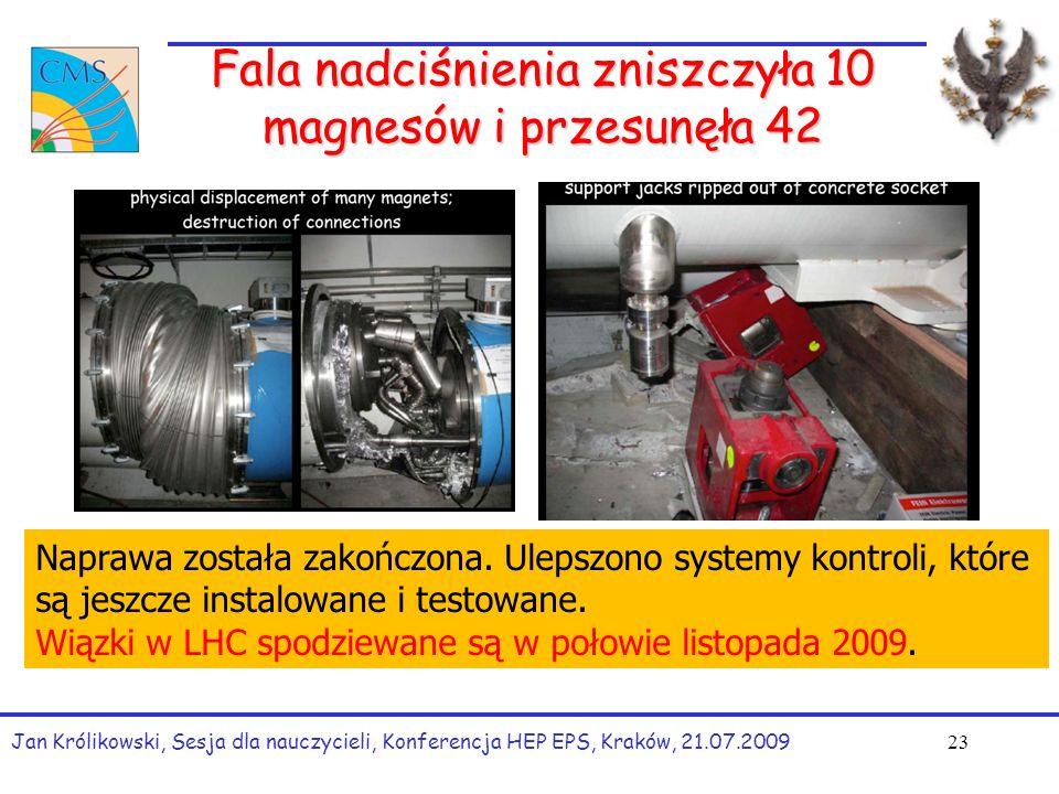 Fala nadciśnienia zniszczyła 10 magnesów i przesunęła 42 Jan Królikowski, Sesja dla nauczycieli, Konferencja HEP EPS, Kraków, 21.07.2009 23 Naprawa została zakończona.
