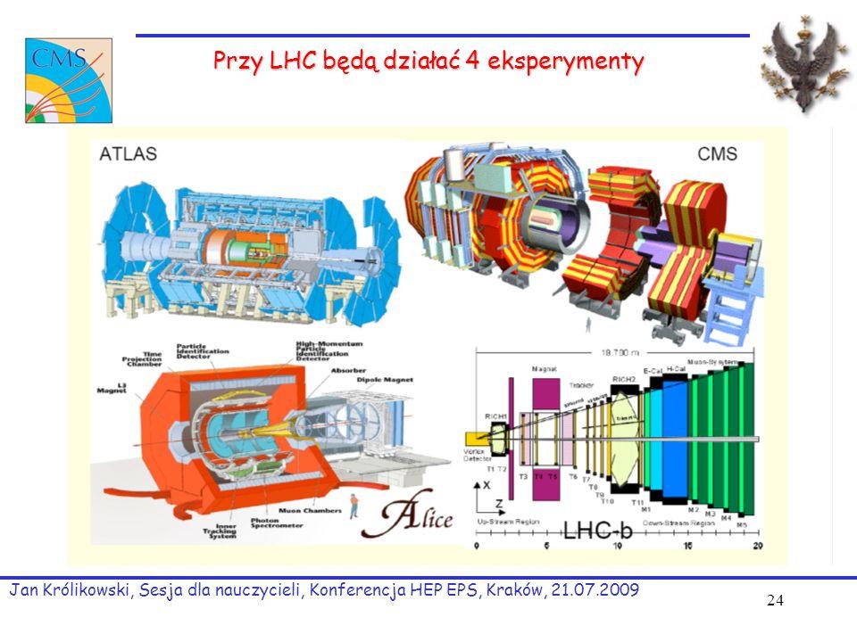 24 Przy LHC będą działać 4 eksperymenty Jan Królikowski, Sesja dla nauczycieli, Konferencja HEP EPS, Kraków, 21.07.2009
