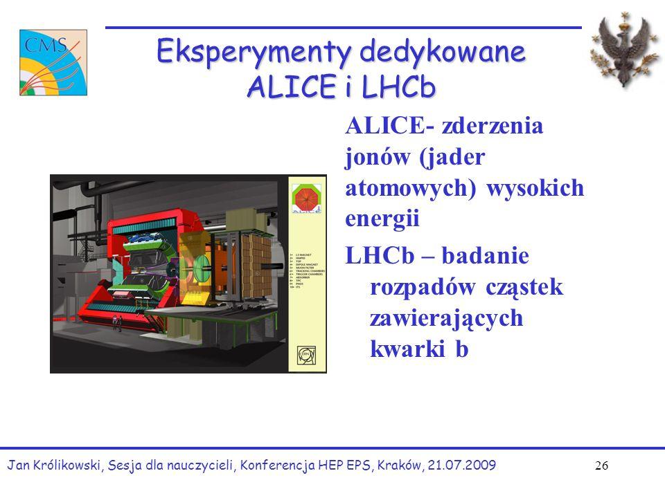 Eksperymenty dedykowane ALICE i LHCb ALICE- zderzenia jonów (jader atomowych) wysokich energii LHCb – badanie rozpadów cząstek zawierających kwarki b Jan Królikowski, Sesja dla nauczycieli, Konferencja HEP EPS, Kraków, 21.07.2009 26