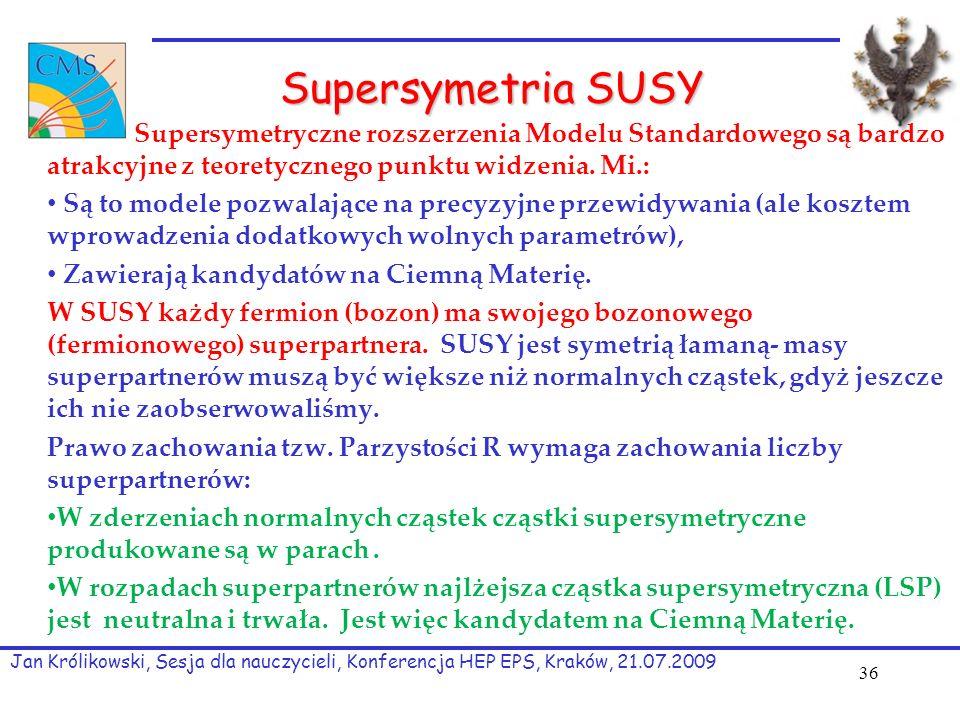 Supersymetria SUSY Supersymetryczne rozszerzenia Modelu Standardowego są bardzo atrakcyjne z teoretycznego punktu widzenia.