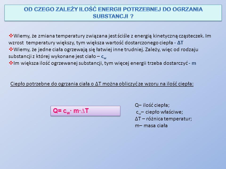  Wiemy, że zmiana temperatury związana jest ściśle z energią kinetyczną cząsteczek. Im wzrost temperatury większy, tym większa wartość dostarczonego