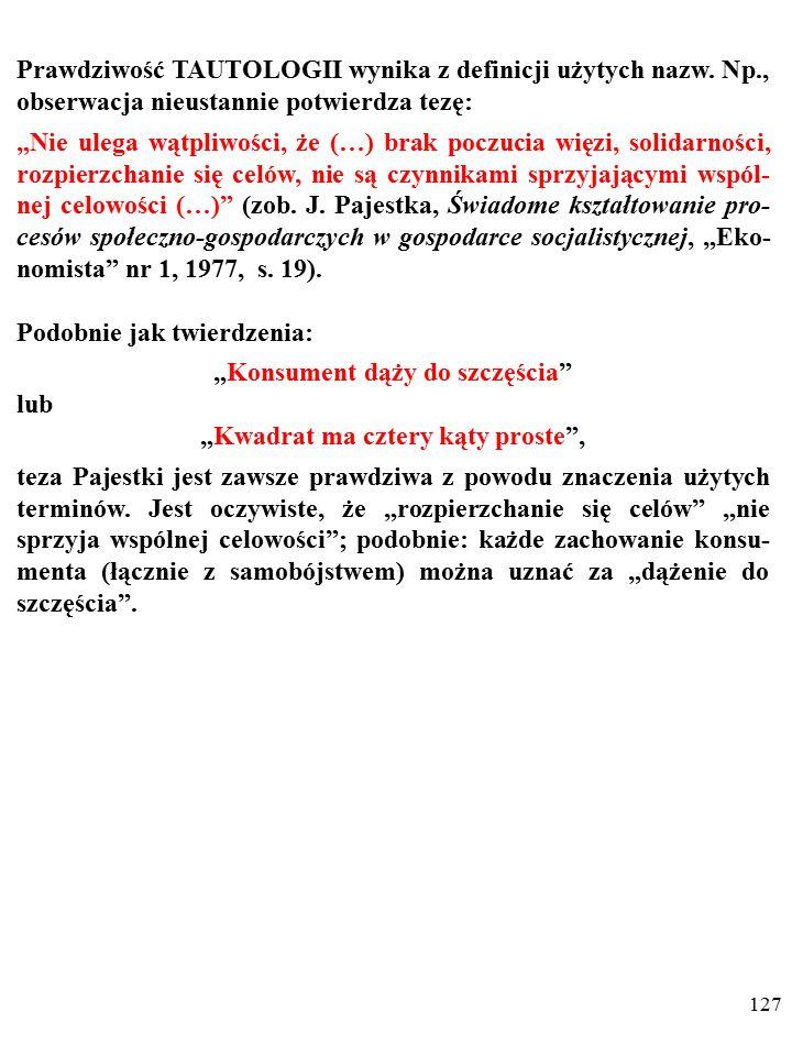 126 NIEOBALALNOŚĆ oznacza, że wypowiedzi nie da się zaprzeczyć z powodu cech języka, w którym ją wypowiedziano.