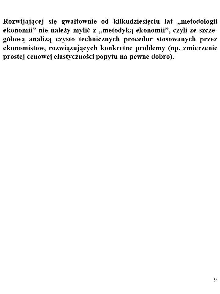 """9 Rozwijającej się gwałtownie od kilkudziesięciu lat """"metodologii ekonomii nie należy mylić z """"metodyką ekonomii , czyli ze szcze- gółową analizą czysto technicznych procedur stosowanych przez ekonomistów, rozwiązujących konkretne problemy (np."""