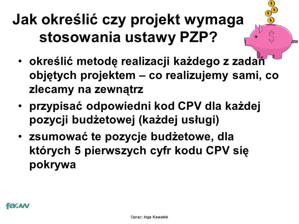 Oprac: Inga Kawałek Jak określić czy projekt wymaga stosowania ustawy PZP.
