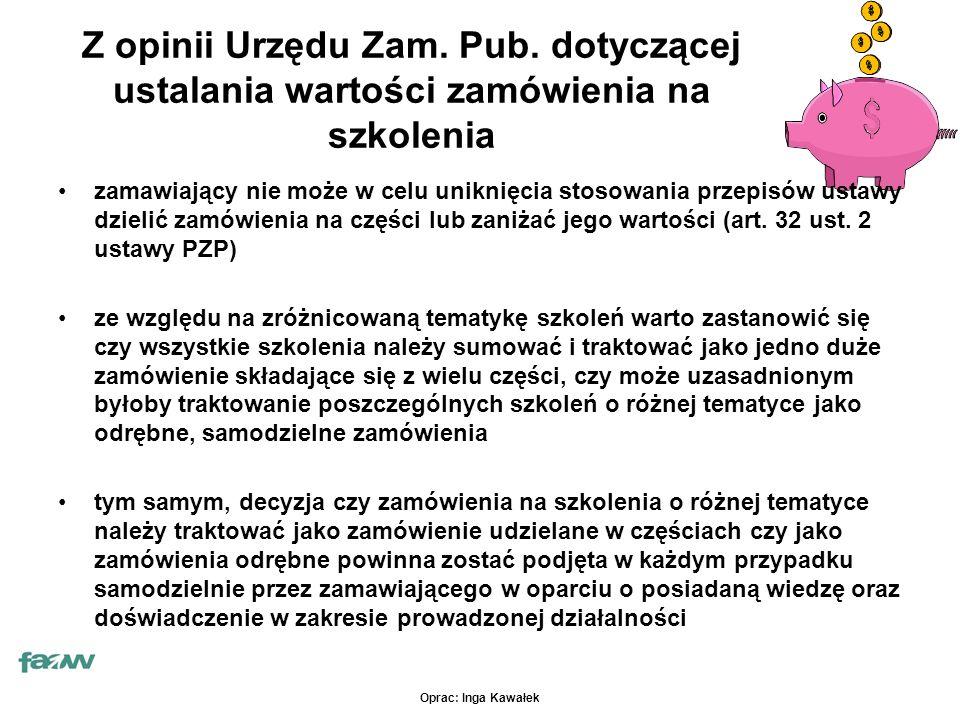 Oprac: Inga Kawałek Z opinii Urzędu Zam. Pub.