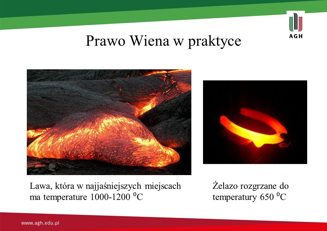 Prawo Wiena w praktyce Lawa, która w najjaśniejszych miejscach ma temperature 1000-1200 ⁰ C Żelazo rozgrzane do temperatury 650 ⁰ C