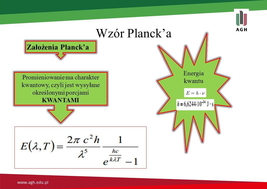 Wzór Planck'a Założenia Planck'a Promieniowanie ma charakter kwantowy, czyli jest wysyłane określonymi porcjami KWANTAMI Energia kwantu