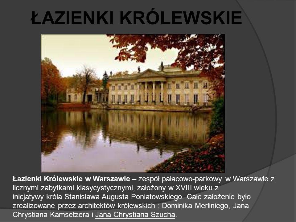Łazienki Królewskie w Warszawie – zespół pałacowo-parkowy w Warszawie z licznymi zabytkami klasycystycznymi, założony w XVIII wieku z inicjatywy króla