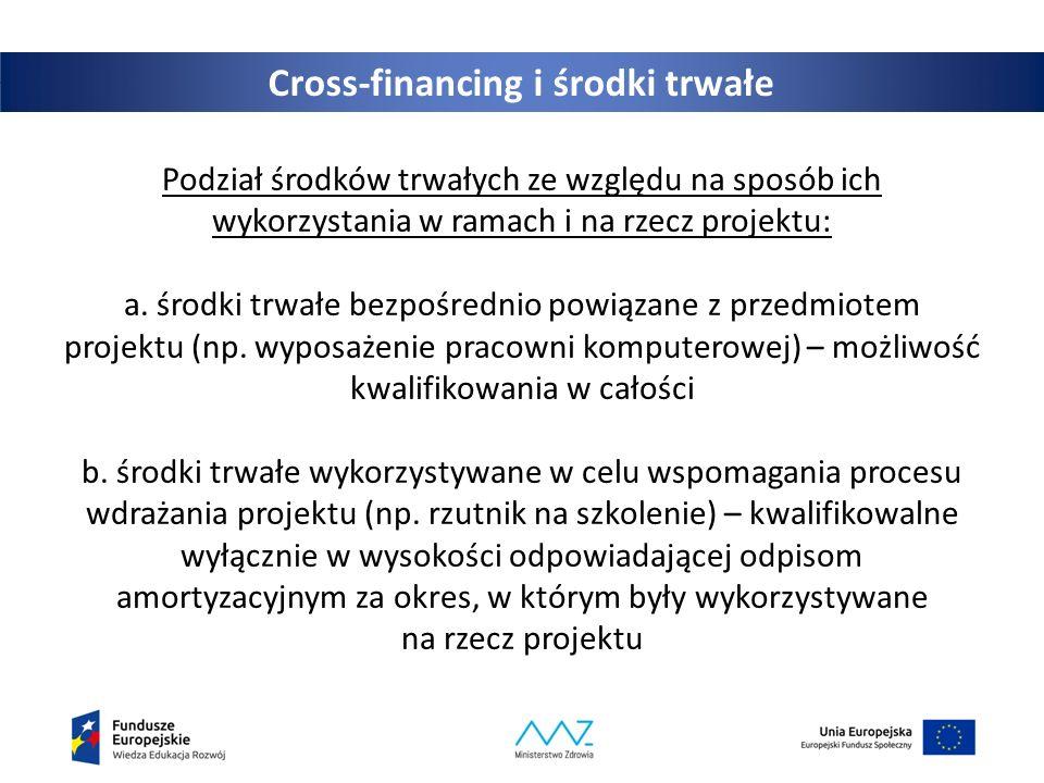 Cross-financing i środki trwałe Podział środków trwałych ze względu na sposób ich wykorzystania w ramach i na rzecz projektu: a.