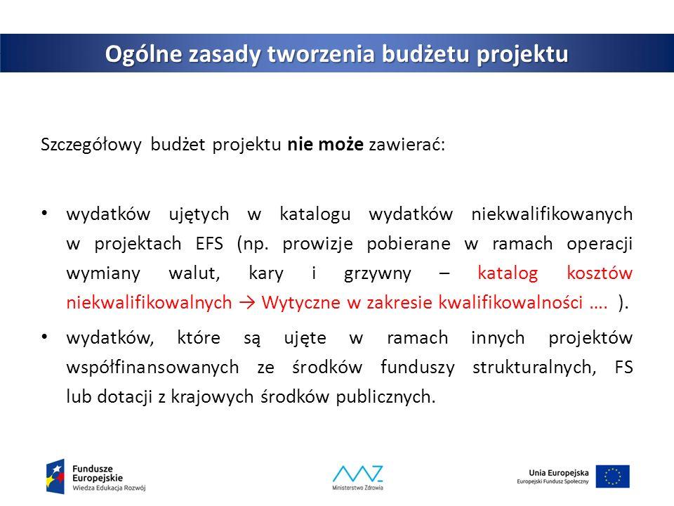 7 Ogólne zasady tworzenia budżetu projektu Szczegółowy budżet projektu nie może zawierać: wydatków ujętych w katalogu wydatków niekwalifikowanych w projektach EFS (np.
