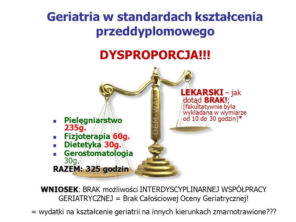Geriatria w standardach kształcenia przeddyplomowego DYSPROPORCJA!!.