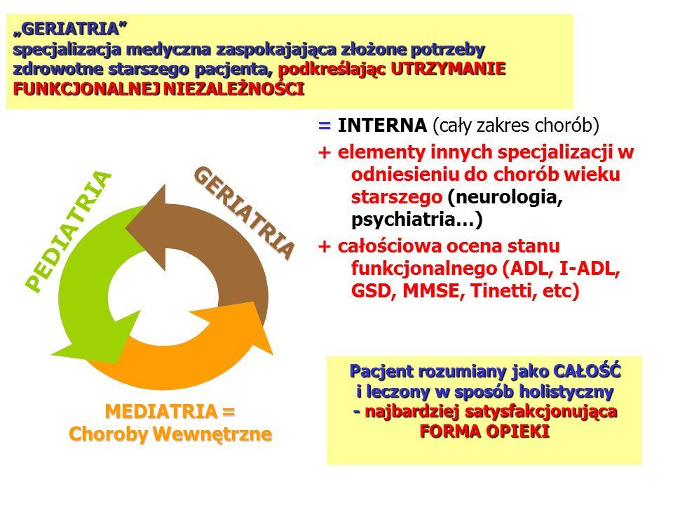 """PEDIATRIA MEDIATRIA = Choroby Wewnętrzne GERIATRIA """"GERIATRIA specjalizacja medyczna zaspokajająca złożone potrzeby zdrowotne starszego pacjenta, podkreślając UTRZYMANIE FUNKCJONALNEJ NIEZALEŻNOŚCI = = INTERNA (cały zakres chorób) + elementy innych specjalizacji w odniesieniu do chorób wieku starszego (neurologia, psychiatria…) + całościowa ocena stanu funkcjonalnego (ADL, I-ADL, GSD, MMSE, Tinetti, etc) Pacjent rozumiany jako CAŁOŚĆ i leczony w sposób holistyczny - najbardziej satysfakcjonująca FORMA OPIEKI"""