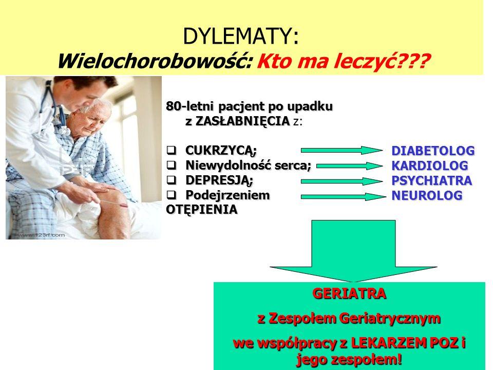 DYLEMATY: Wielochorobowość: Kto ma leczyć DIABETOLOGKARDIOLOGPSYCHIATRANEUROLOG 80-letni pacjent po upadku z ZASŁABNIĘCIA 80-letni pacjent po upadku z ZASŁABNIĘCIA z:  CUKRZYCĄ;  Niewydolność serca;  DEPRESJĄ;  Podejrzeniem OTĘPIENIA GERIATRA z Zespołem Geriatrycznym we współpracy z LEKARZEM POZ i jego zespołem!