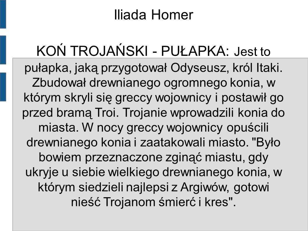 Iliada Homer KOŃ TROJAŃSKI - PUŁAPKA: Jest to pułapka, jaką przygotował Odyseusz, król Itaki.