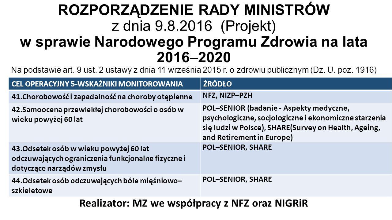 ROZPORZĄDZENIE RADY MINISTRÓW z dnia 9.8.2016 (Projekt) w sprawie Narodowego Programu Zdrowia na lata 2016–2020 Na podstawie art.