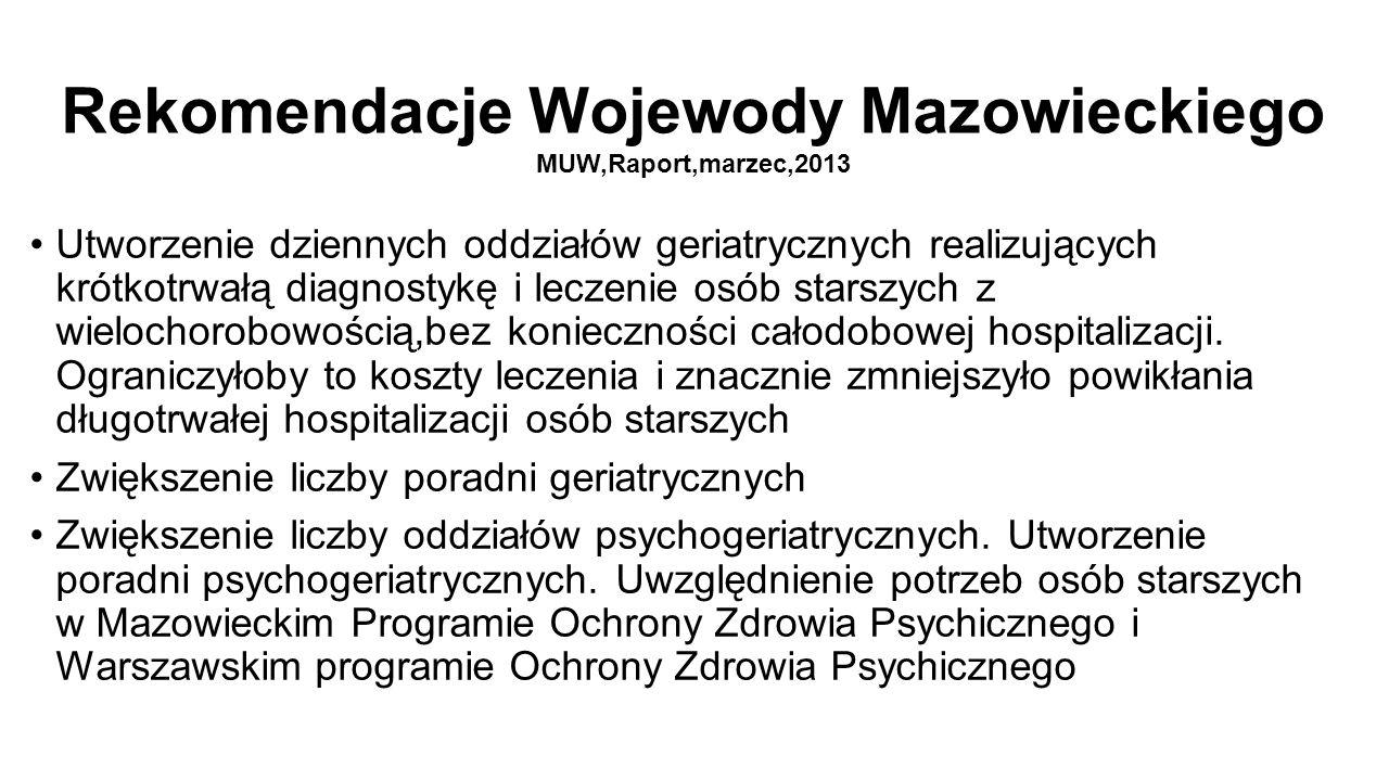 Rekomendacje Wojewody Mazowieckiego MUW,Raport,marzec,2013 Utworzenie dziennych oddziałów geriatrycznych realizujących krótkotrwałą diagnostykę i leczenie osób starszych z wielochorobowością,bez konieczności całodobowej hospitalizacji.