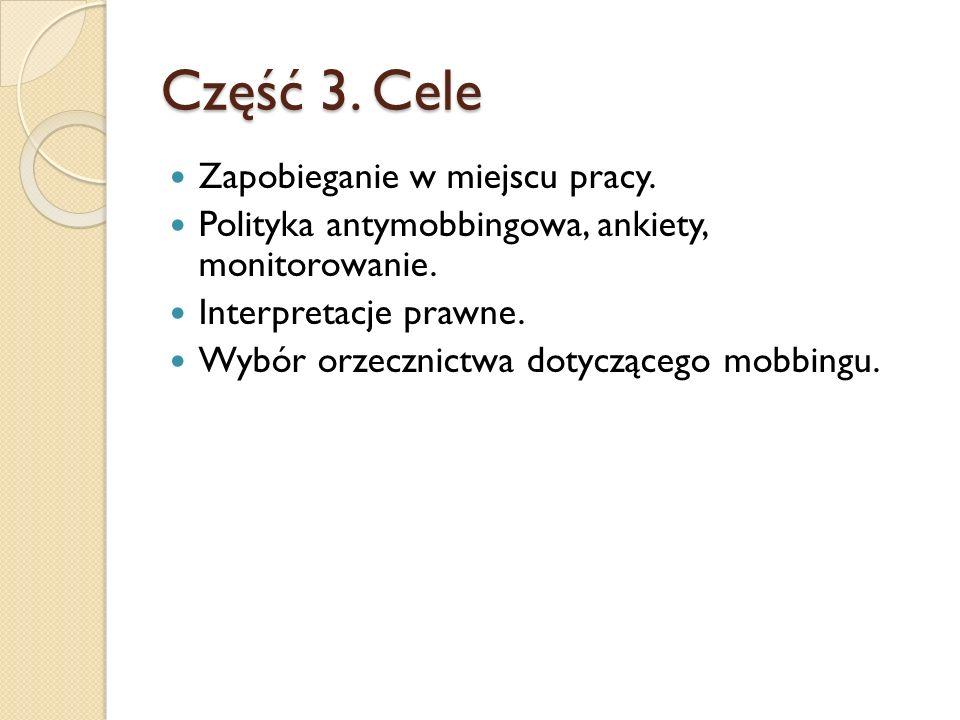 Część 3. Cele Zapobieganie w miejscu pracy. Polityka antymobbingowa, ankiety, monitorowanie.